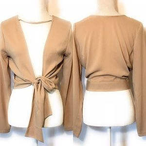Forever 21 cropped faux wrap blouse, Sz med